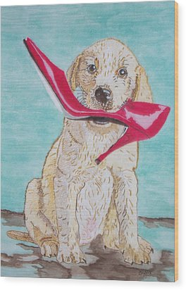 The Red Slipper  Wood Print by Connie Valasco