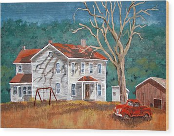 Wood Print featuring the painting The Red Swing by Tony Caviston