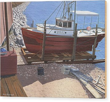 Wood Print featuring the painting The Red Troller by Gary Giacomelli