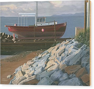 Wood Print featuring the painting The Red Troller Revisited by Gary Giacomelli