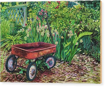 The Red Wagon Wood Print