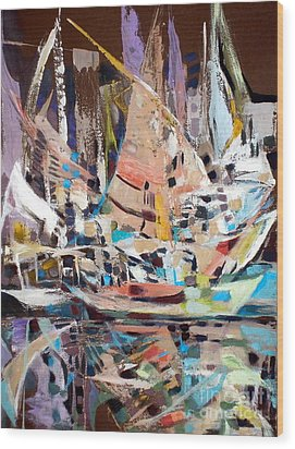 The Reflection Of Boats Wood Print by Therese AbouNader