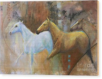 The Reflection Of The White Horse Wood Print by Frances Marino