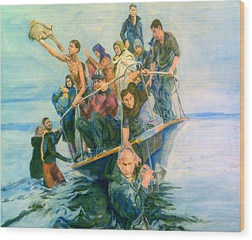 The Refugees Seek The Shore Wood Print