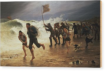 The Rescue Wood Print by Maurice Poirson