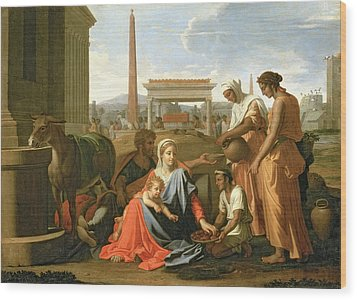 The Rest On The Flight Into Egypt Wood Print by Nicolas Poussin
