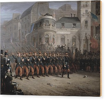 The Return Of The Troops To Paris From The Crimea Wood Print by Emmanuel Masse