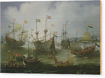 The Return To Amsterdam Of The Second Expedition To The East Indies Wood Print by Andries van Eertvelt