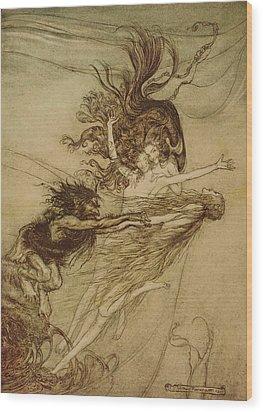 The Rhinemaidens Teasing Alberich Wood Print by Arthur Rackham