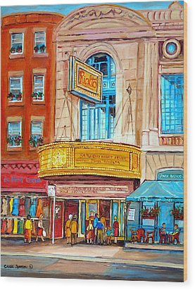 Wood Print featuring the painting The Rialto Theatre Montreal by Carole Spandau