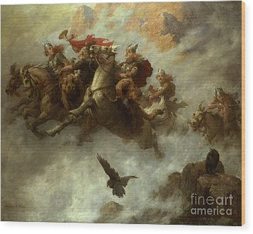 The Ride Of The Valkyries  Wood Print by William T Maud