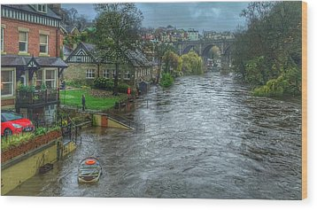The River Nidd In Flood At Knaresborough Wood Print by RKAB Works