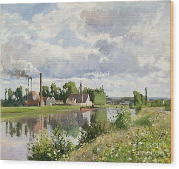The River Oise Near Pontoise Wood Print by Camille Pissarro