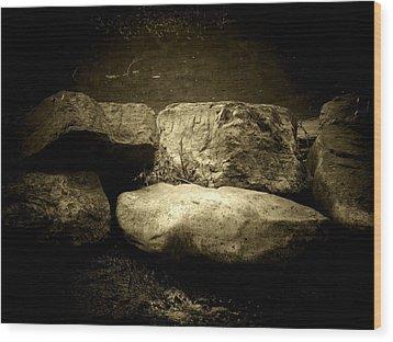 The River Rocks Wood Print by Michael L Kimble