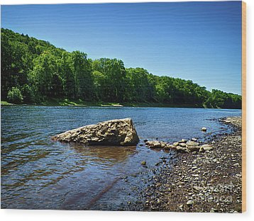The River's Edge Wood Print by Mark Miller