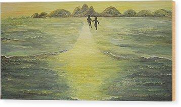 The Road In The Ocean Of Light Wood Print by Karina Ishkhanova