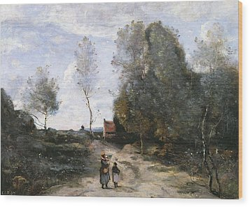 The Road Wood Print by Jean Baptiste Camille Corot