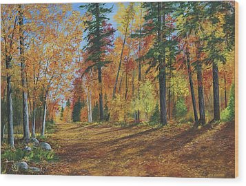 Wood Print featuring the painting The Road Less Traveled by Ken Ahlering