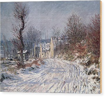 The Road To Giverny In Winter Wood Print by Claude Monet