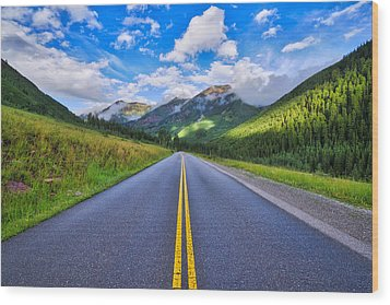 Wood Print featuring the photograph The Road To Maroon Lake by Photography By Sai