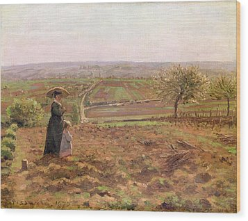 The Road To Rouen Wood Print by Camille Pissarro