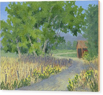 The Road To The Back Field Wood Print