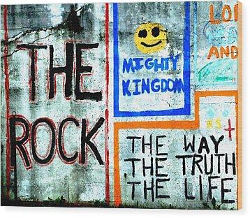 The Rock Wood Print by Michael L Kimble