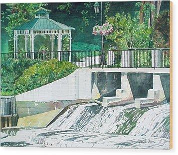 The Rockford Dam Wood Print by LeAnne Sowa