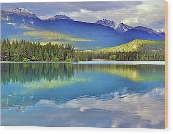 Wood Print featuring the photograph The Rockies Reflected In Lake Annette by Tara Turner