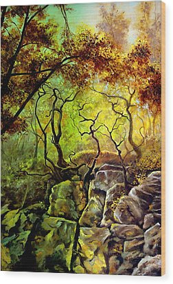 Wood Print featuring the painting The Rocks In Starachowice by Henryk Gorecki