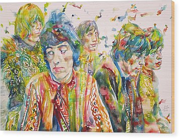 Wood Print featuring the painting The Rolling Stones - Watercolor Portrait by Fabrizio Cassetta