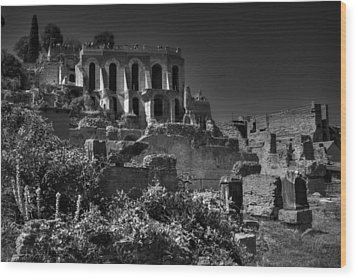 Wood Print featuring the photograph The Roman Forum 001 Bw by Lance Vaughn
