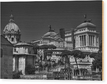 Wood Print featuring the photograph The Roman Forum 002 Bw by Lance Vaughn