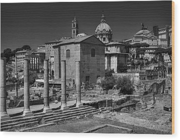 Wood Print featuring the photograph The Roman Forum 003 Bw by Lance Vaughn