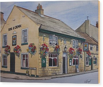 The Rose And Crown Otley Yorkshire Wood Print by Victoria Heryet