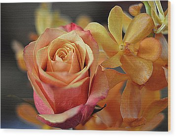 Wood Print featuring the photograph The Rose And The Orchid by Diana Mary Sharpton