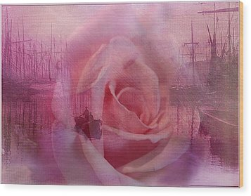 The Rose And The Sea Wood Print by Wallaroo Images