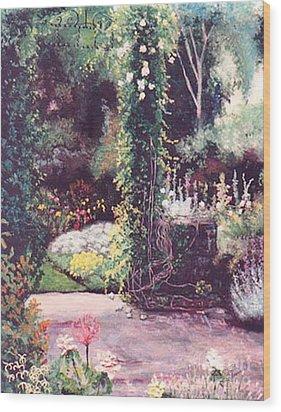 The Rose Covered Column Wood Print by Cynthia Sorensen