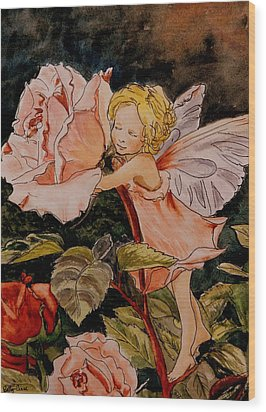 The Rose Fairy After Cicely Mary Barker Wood Print by Betty-Anne McDonald