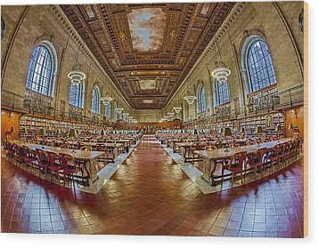 The Rose Main Reading Room Nypl Wood Print by Susan Candelario
