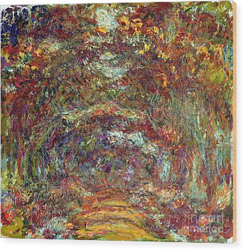 The Rose Path Giverny Wood Print by Claude Monet