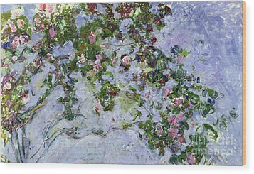 The Roses Wood Print by Claude Monet