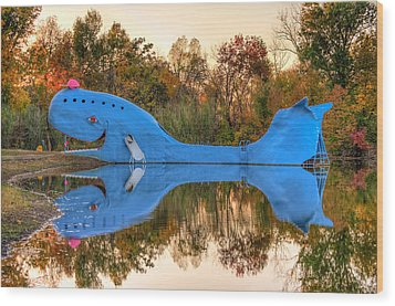 The Route 66 Blue Whale - Catoosa Oklahoma Wood Print by Gregory Ballos