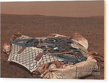 The Rovers Landing Site, The Columbia Wood Print by Stocktrek Images