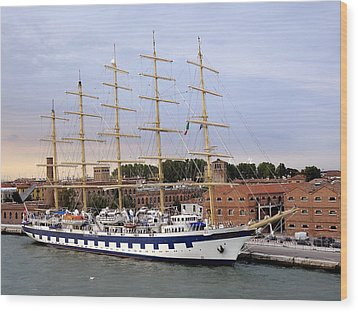 The Royal Clipper Docked In Venice Italy Wood Print by Richard Rosenshein