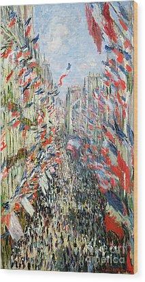 The Rue Montorgueil Wood Print by Claude Monet