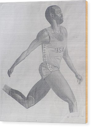 Wood Print featuring the drawing The Runner by Wil Golden