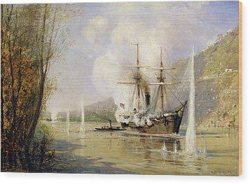 The Russian Destroyer Shutka Attacking A Turkish Ship On The 16th June 1877 Wood Print by Aleksei Petrovich Bogolyubov