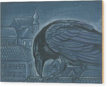 The Russian Raven Wood Print