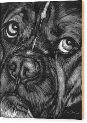 The Sad Boxer Wood Print by Enzie Shahmiri